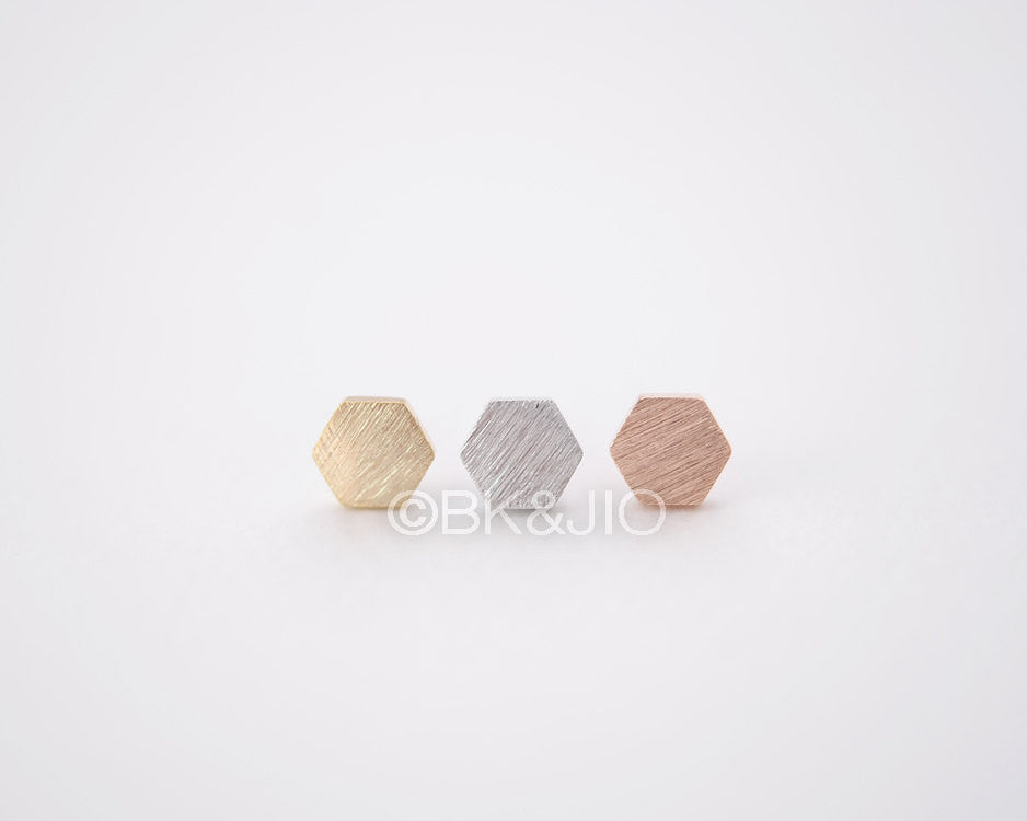 Heavy Hexagon Stud Earrings