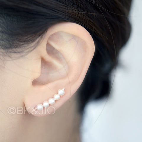 Sterling Silver Fresh Water Pearls Ear Pin - 3 Pearls and 5 Pearls