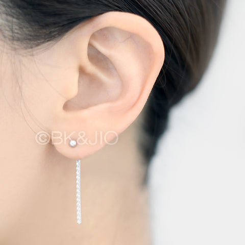 Sterling Silver Bar Swarovski Zirconia Ear Jacket