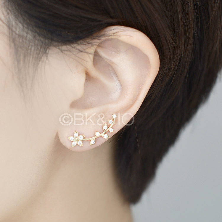 CZ Leafed Flower Ear Pin/ Ear Cuff