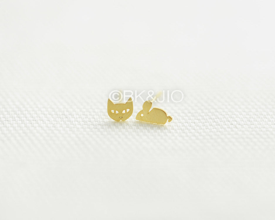 Cat and Mouse Stud Earrings