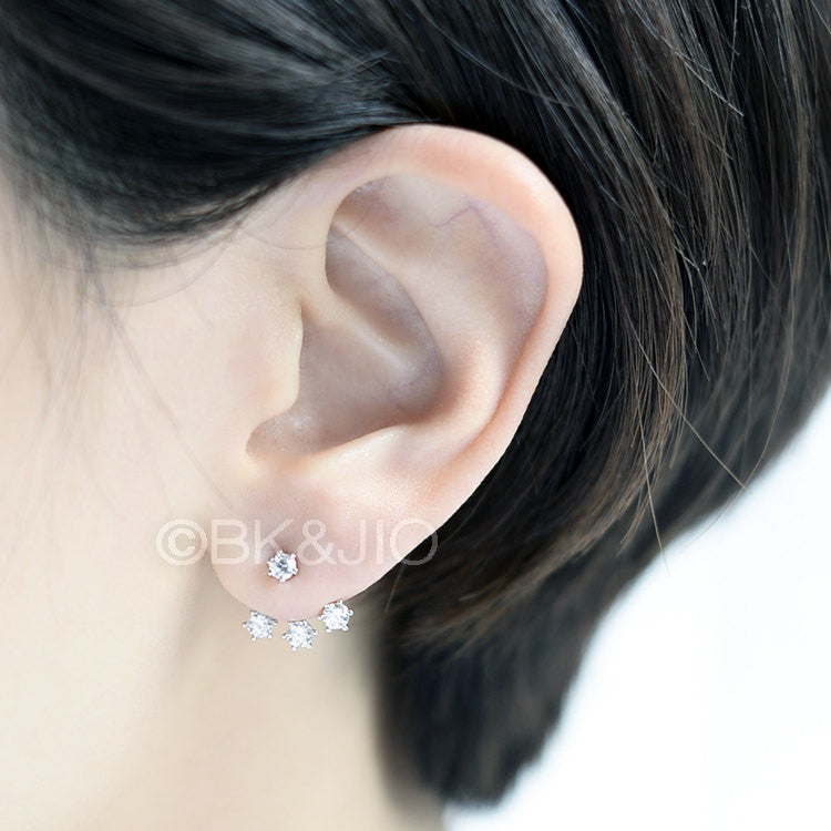 Sterling Silver Three Swarovski Zirconia Ear Jacket