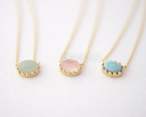 Classic Stone Necklace - Aventurine, Rose and Turquoise