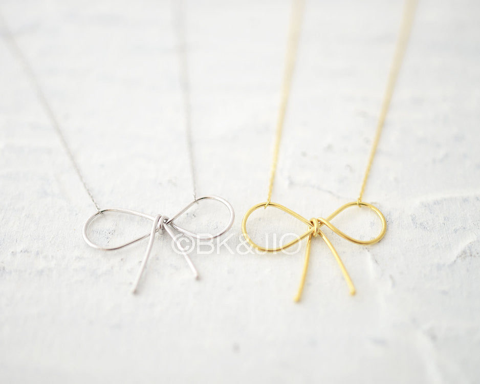 Sterling Silver Big Bow Necklace