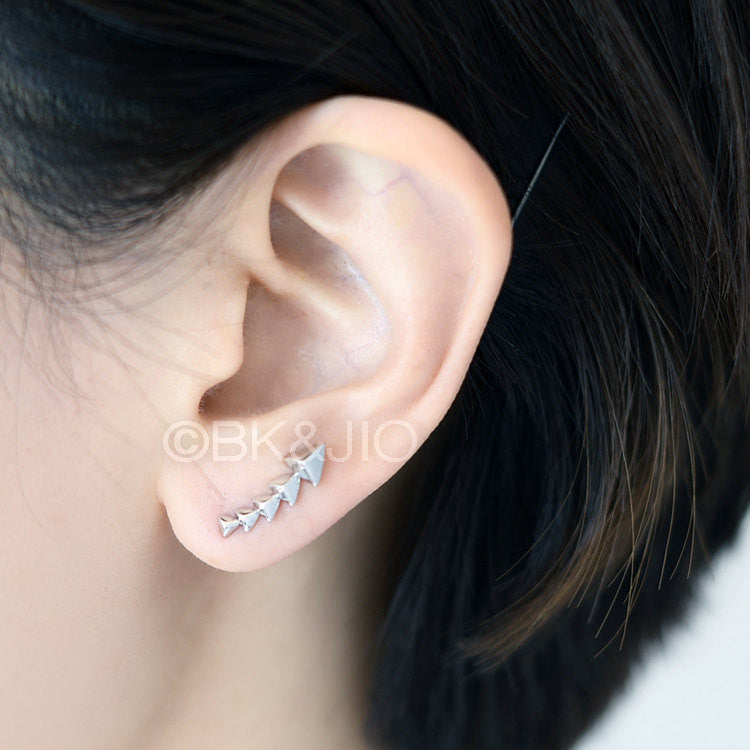 Stacked Pyramid Triangle Ear Pin/ Ear Cuff