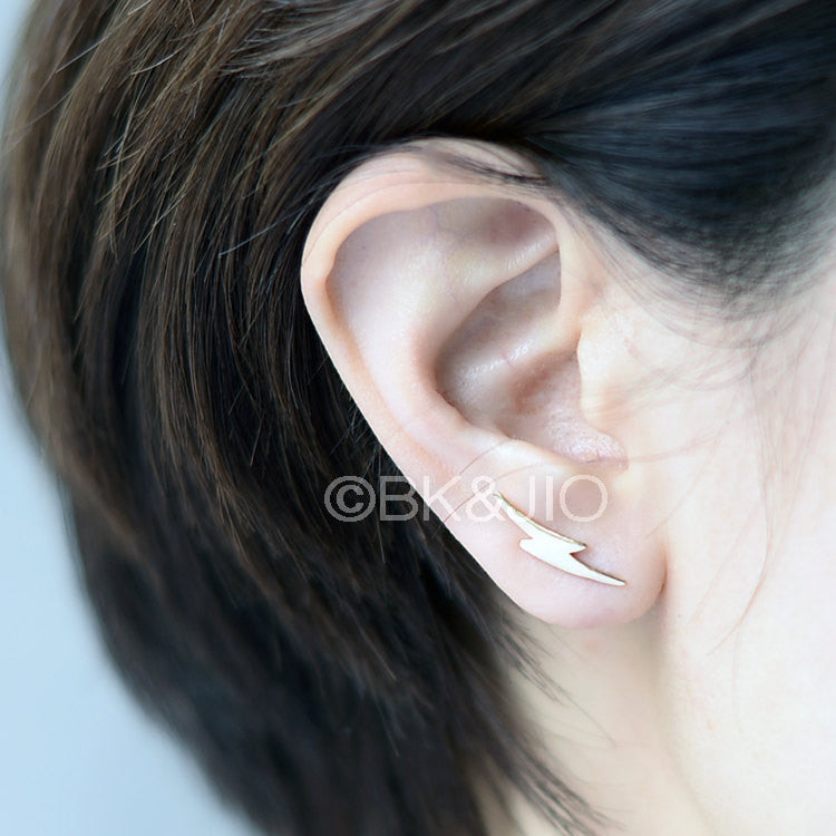 Curved Lightning Bolt Ear Pin/ Ear Cuff
