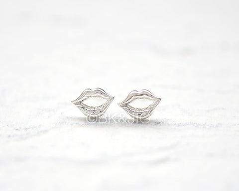 Sterling Silver Lips Stud Earrings