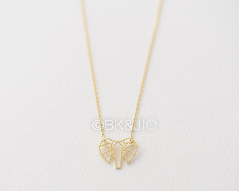 Lined Origami Elephant Necklace