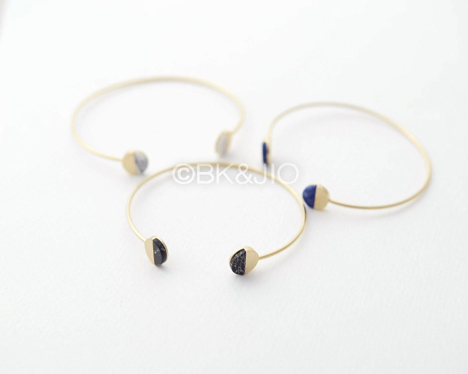 Round Gemstone Bangle Bracelet