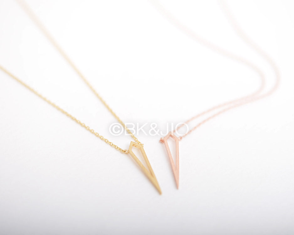 Long Flat Spike Necklace