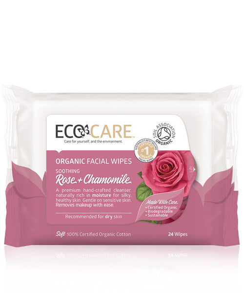 EcoCare Organic Facial Wipes Rose & Chamomile