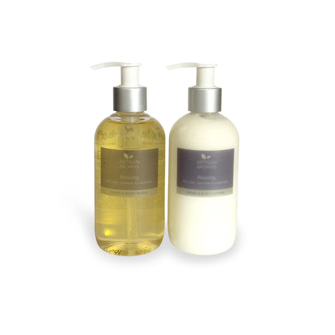 Relaxing hand & body wash/lotion duo