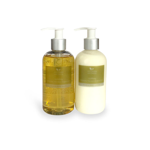 Uplifting hand & body wash/lotion duo
