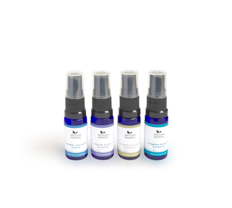Set of four mini room and pillow mists