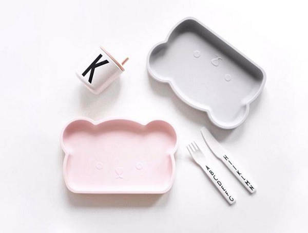 Bear Silicone Plate . Pink