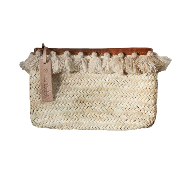 Clutch Bags PomPom Necklace Beige