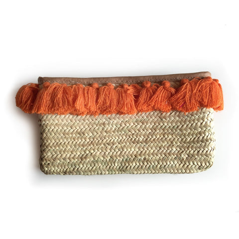 Clutch Bags PomPom Necklace Orange