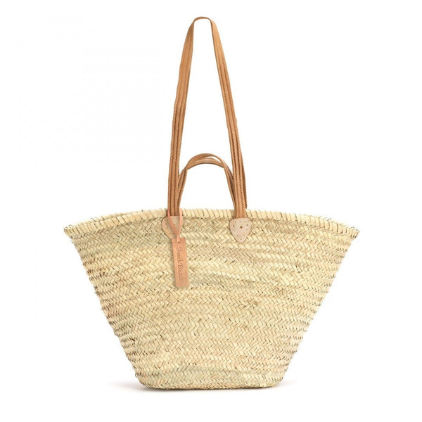 Natural Basket Flat Leather Handle Double