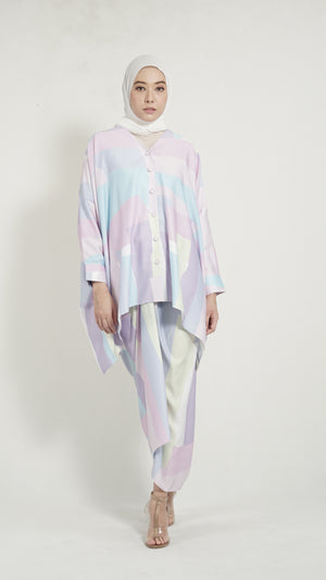 Alessia top Pastel Purple Geometry