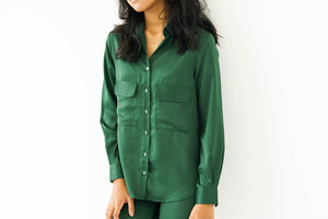 [PRE ORDER] Emerald Green Satin Silk Shirt