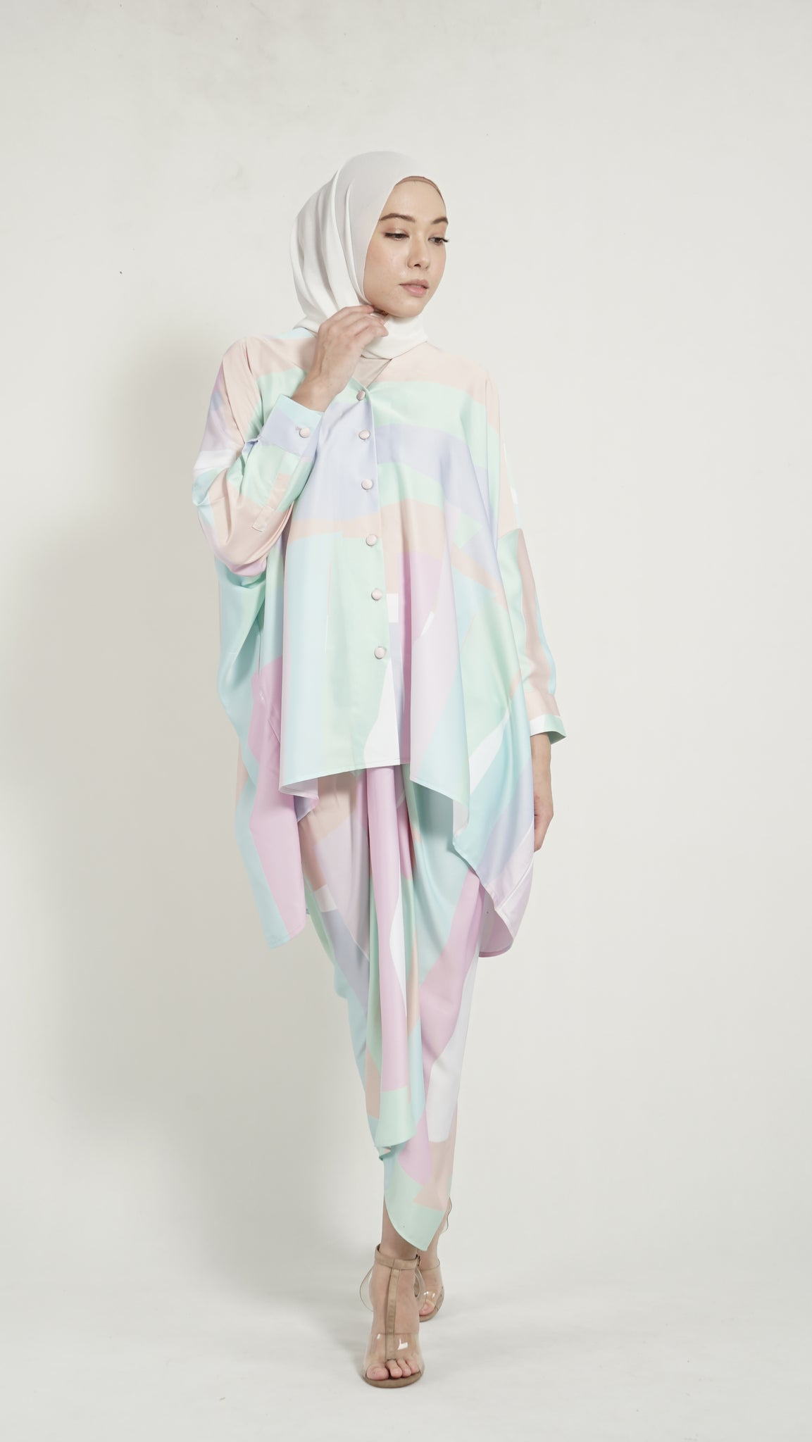 Alessia top Pastel Green Geometry