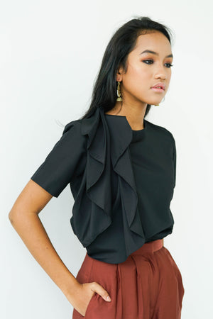 [PRE ORDER] Black Ruffle Pleat Top