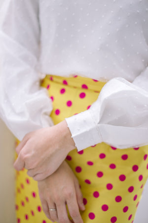 Polka Dot Skirt in Yellow Pink