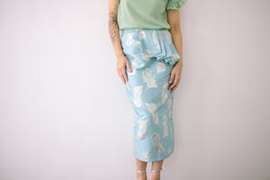Brocade Side Pleat Skirt in Blue