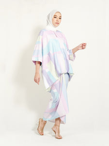 Kirana Top Pastel Purple Geometry