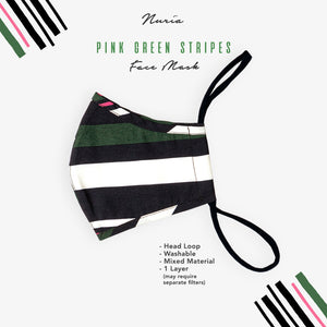 Green & Pink Stripes Face Mask