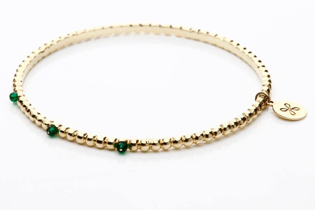 Gold and green agate bracelet.