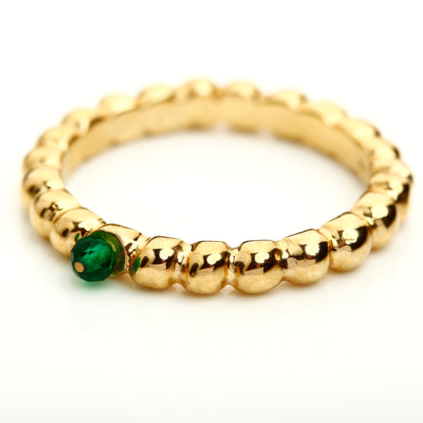 Gold and green agate ring