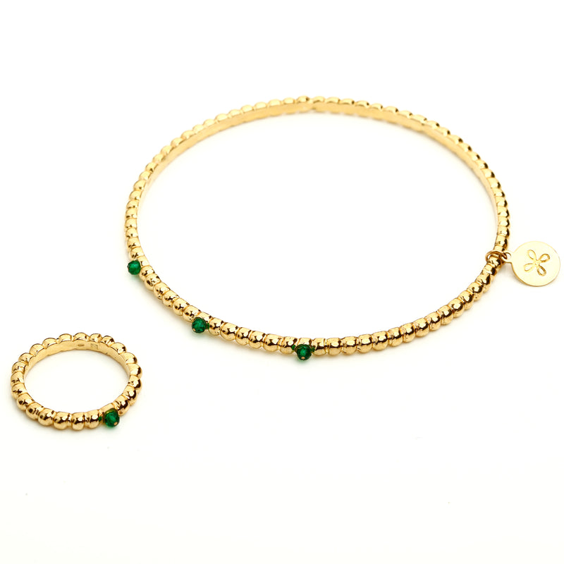 Green agate and gold bracelet and ring