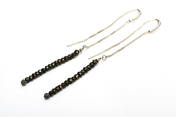 Earrings Long - Pyrite - Hildur Hafstein