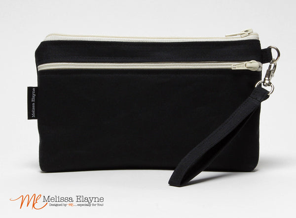 iPhone 6 Plus Wristlet, X-Large Waxed Canvas Clutch -Black - Melissa Elayne - 1