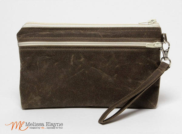 iPhone 6 Plus Wristlet, X-Large Waxed Canvas Wristlet -Brown - Melissa Elayne - 1