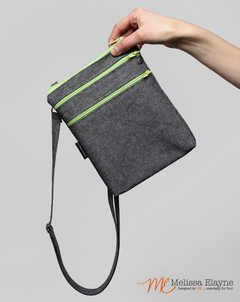 Medium Crossbody Purse, Charcoal Linen - Melissa Elayne
