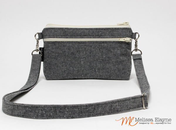 Large Crossbody Purse for iPhone 7 Plus -Charcoal Linen - Melissa Elayne