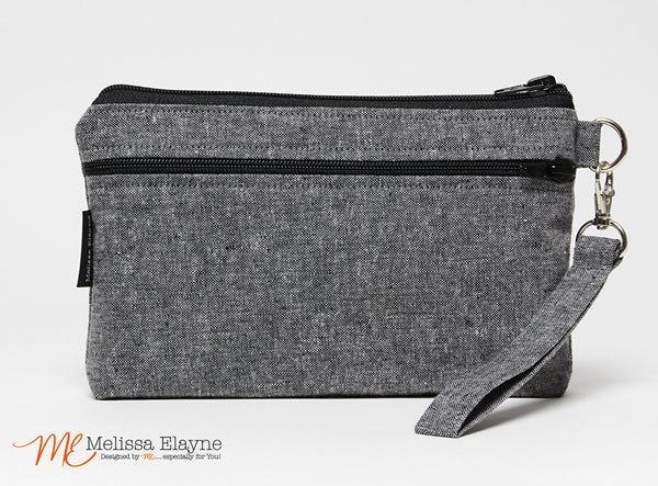 Large Wristlet, iPhone 6 Plus Wristlet -Charcoal Linen - Melissa Elayne - 1