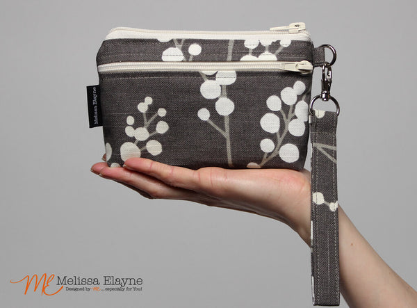 Small Cell Phone Wristlet -Pussy Willow Print