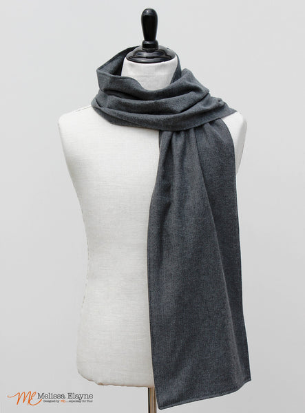 Flannel Scarf for Him, Gray Herringbone Pattern