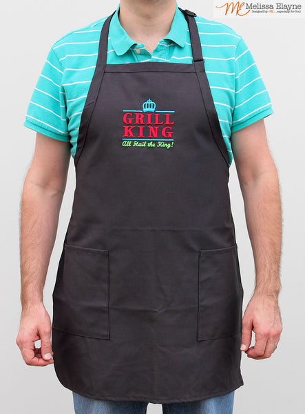 BBQ Apron for Him, Grill King Apron for Fathers Day - Melissa Elayne