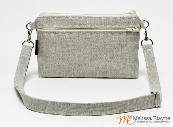 Large Crossbody Purse for iPhone 7 Plus -Natural Linen - Melissa Elayne