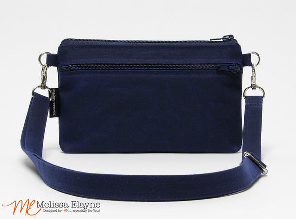 Medium Waxed Canvas Crossbody Purse -Navy - Melissa Elayne - 1