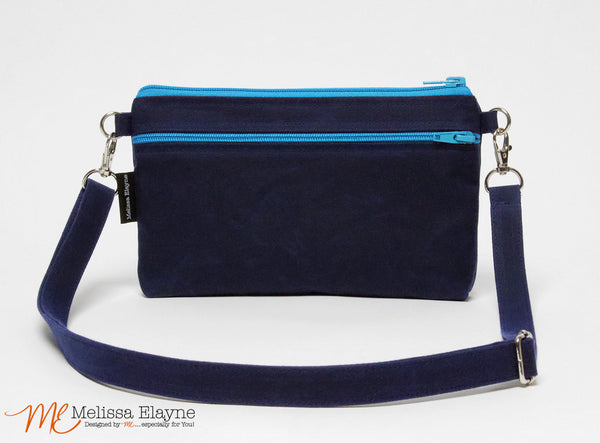Large Waxed Canvas Crossbody Purse -Navy - Melissa Elayne