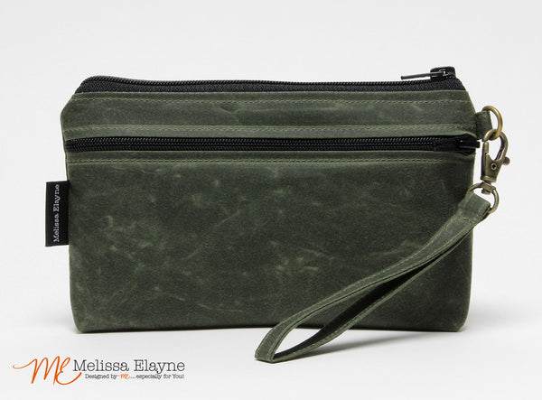 iPhone 6 Plus Wristlet, X-Large Waxed Canvas Wristlet -Olive Green - Melissa Elayne - 1