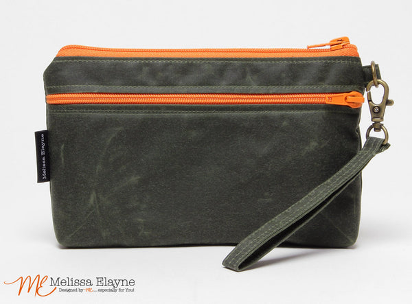 iPhone 6 Plus Wristlet, Large Waxed Canvas Wristlet -Olive - Melissa Elayne - 1
