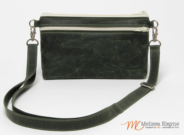 Large Waxed Canvas Crossbody Purse -Olive Green - Melissa Elayne - 1