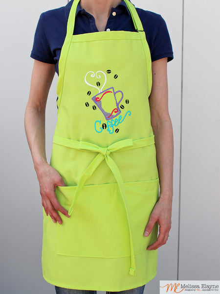 Coffee Apron, Embridered Apron for Her
