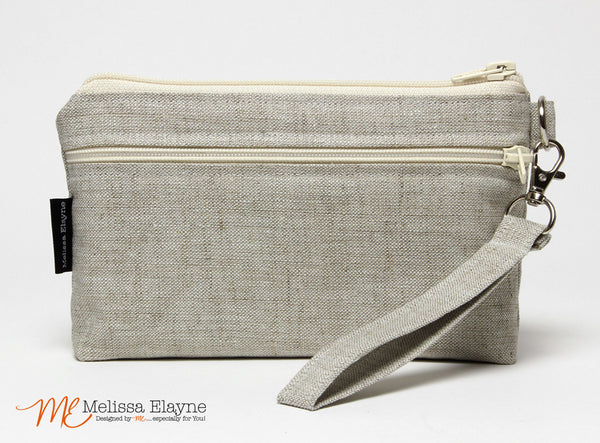 Large Wristlet, iPhone 7 Plus Wristlet -Natural Linen